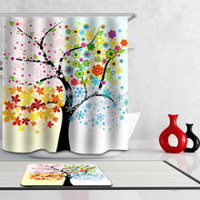 Polyester Waterproof 3D India Boho Plant Shower Curtain Bathroom Curtains  12 Hooks Mildewproof Bath Curtain(