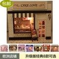 Frete grátis Diy bolo Casa de Boneca mini modelo de construção casa De bonecas De Madeira feitos à mão Chirstmas presente com luz
