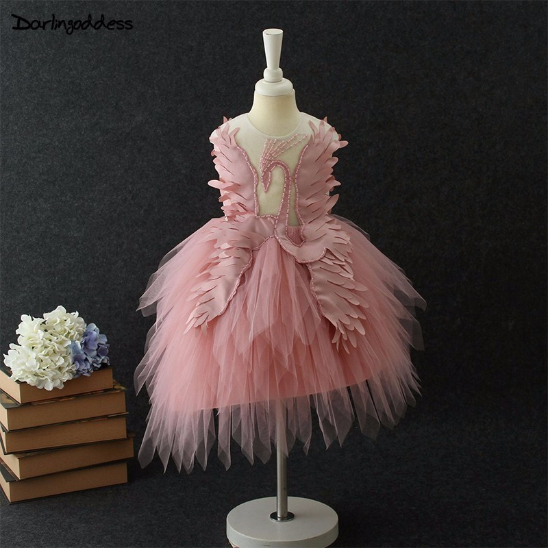 Swan Little   Flower     Girls     Dresses   for Weddings Baby Birthday Party Frocks Sexy Children Images   Dress   Kids Prom   Dress   Evening Gown