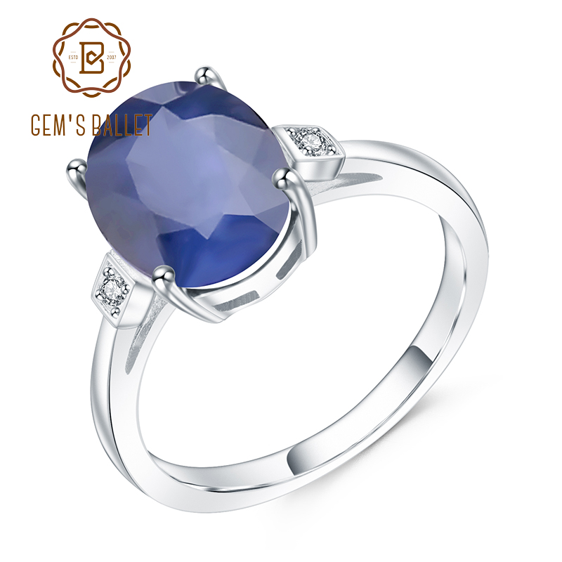 GEM'S BALLET 4.78Ct Oval Natural Blue Sapphire Gemstone Finger Ring 925 Sterling Silver Wedding Rings For Women Fine Jewelry