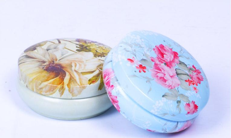 100pcs Floral Pastoral Iron Storage Tank Box Bins Cans Metal Round Coffee Tea Snacks Candy Tin