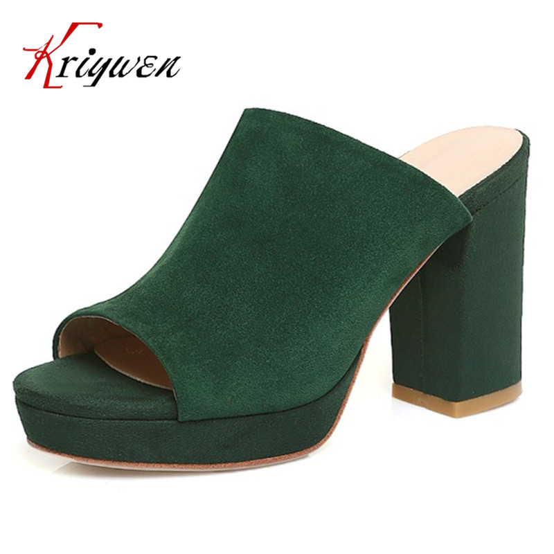 Black red green pink Summer sheepskin Woman Platform Flip Flops slippers thick high heels Beach Sandals for women open toe shoes