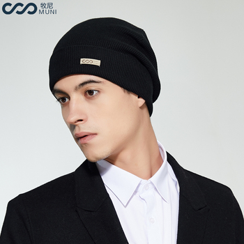 MUNI Men Winter Hat New Cotton 2018 Thick & Warm Beanie Brand Casual Men Knitted Soft Skullies Cable gorros hombre invierno beanie