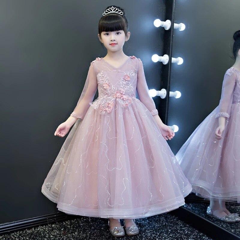 2018 New Luxury Fashion Children Girls V-Collar Birthday Evening Party Long Dress Kids Ball Gown Performance Costume Dresses muqgew new fashion 2018 children party