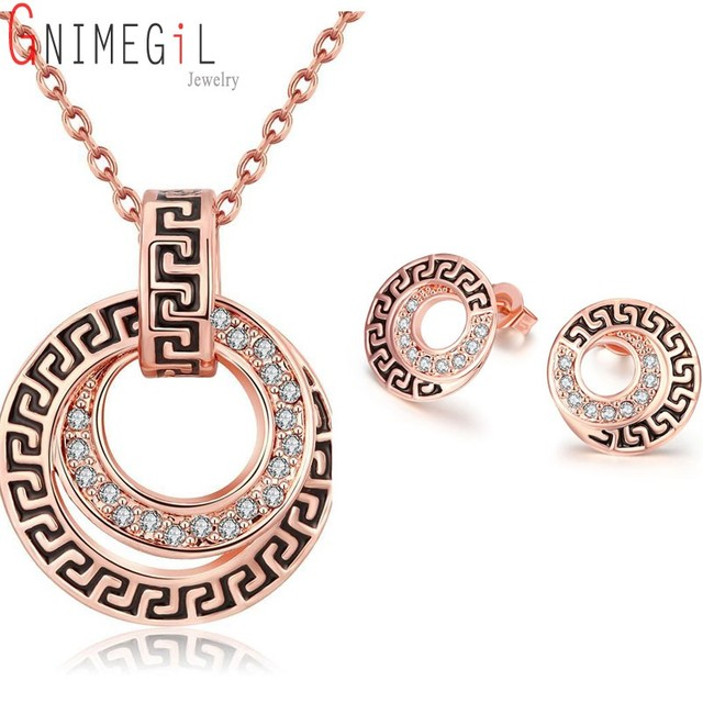 GNIMEGIL Wedding Jewelry Sets Womens Round Earring Studs Rose Gold