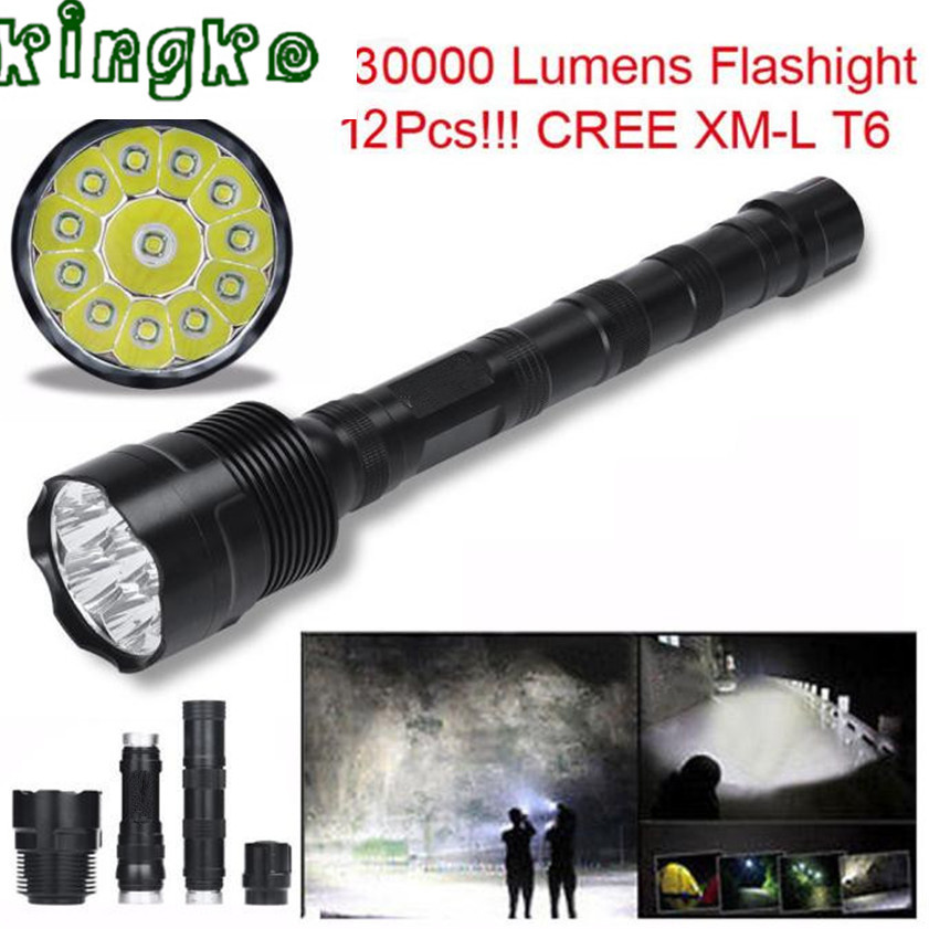 High Quality zaklamp 30000 Lumens flashlight 12x CREE XML T6 5 Mode 18650 Super Bright LED Flashlight 1.18 hot xlightfire 30000 lumens 12 x xml t6 5 mode led flashlight 3 x 18650 battery free shipping nn01
