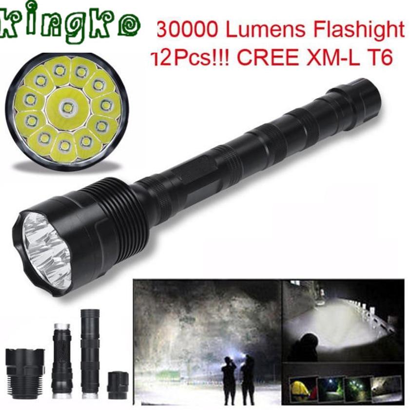 High Quality zaklamp 30000 Lumens flashlight 12x CREE XML T6 5 Mode 18650 Super Bright LED Flashlight 1.18