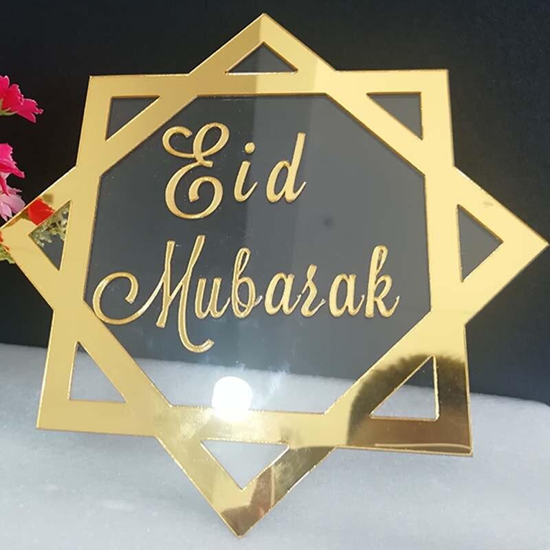 Custom Eid Mubarak Teken Acryl Spiegel Frame Eid Mubarak Tafel Top Art Islamitische Kunstwerk Ideaal Voor Eid Decoraties Met Base