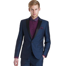 Customized Groom single-breasted Black Wedding High-end Business Party dress Notched Lapel Men's Suit ( jacket+Pant)