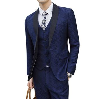 Blue Men Dress Three-Piece set Slim Design Asian Size S - 5XL Men Blazer jacket with Pants and Vest