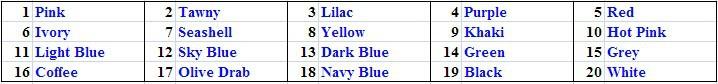 20 color names