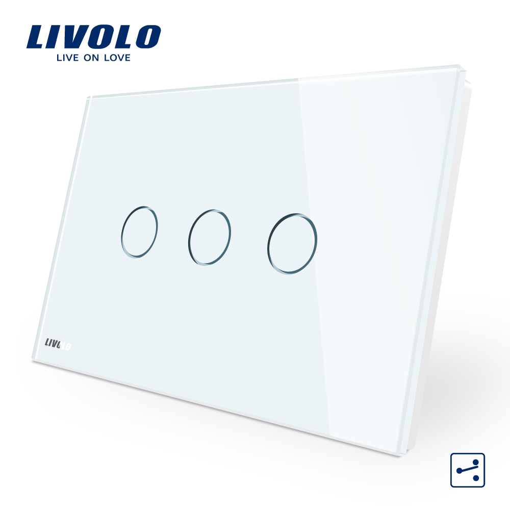 Livolo AU/US Standard Touch Switch, VL-C303S-81, White Crystal Glass Panel,3-gang 2-way Touch Control Light Switch pair of stylish solid color hollow out knot shape alloy cufflinks for men