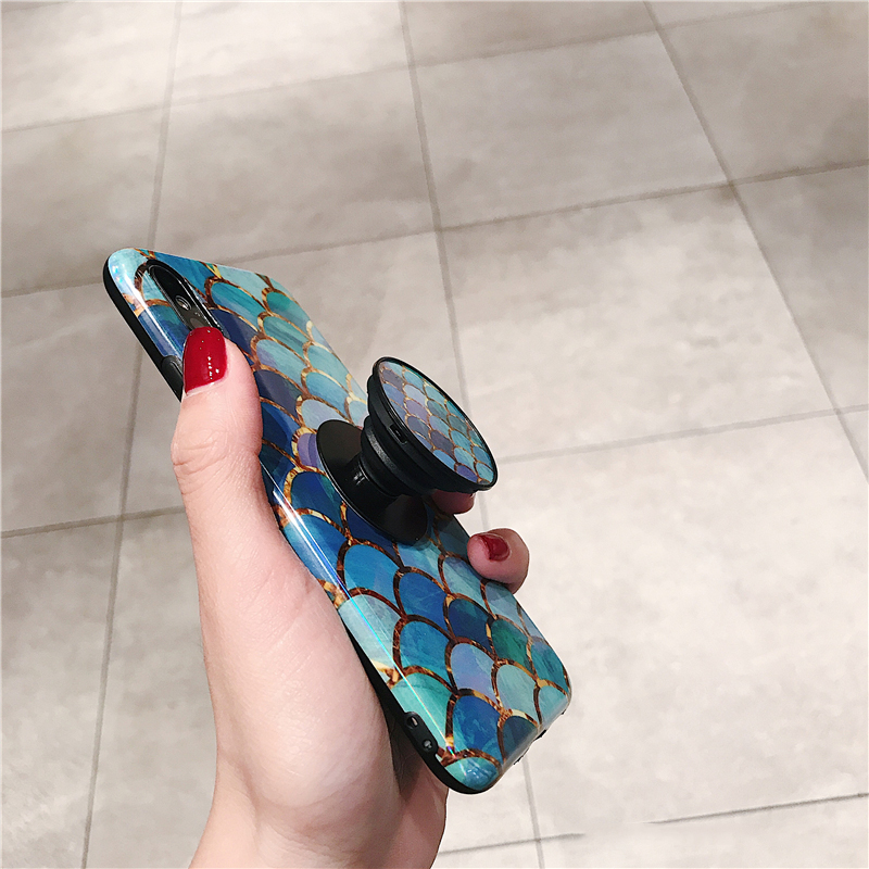 Shiny mermaid scales laser phone cases for iphone 7 8 X XR XS Max 6 S 6s 7 8 plus Ring air bag Stand holder Grip case back cover (4)