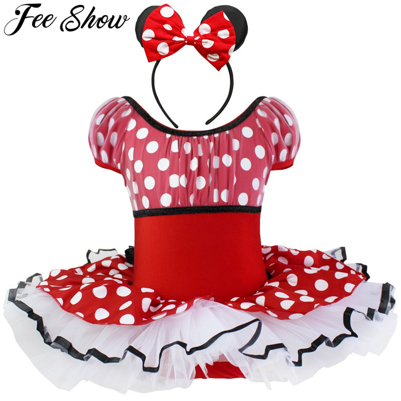 Cute Toddler Girls Halloween Costume Short Sleeves Elastic Polka Dots Dancewear Headband Newborn Cosplay Party Pink Red 2-10Y