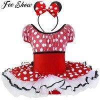 Mignon Enfant Filles Halloween Costume Manches Courtes Élastique Polka Points Vêtements Bandeau Nouveau-Né Cosplay Partie Rose Rouge 2-10Y
