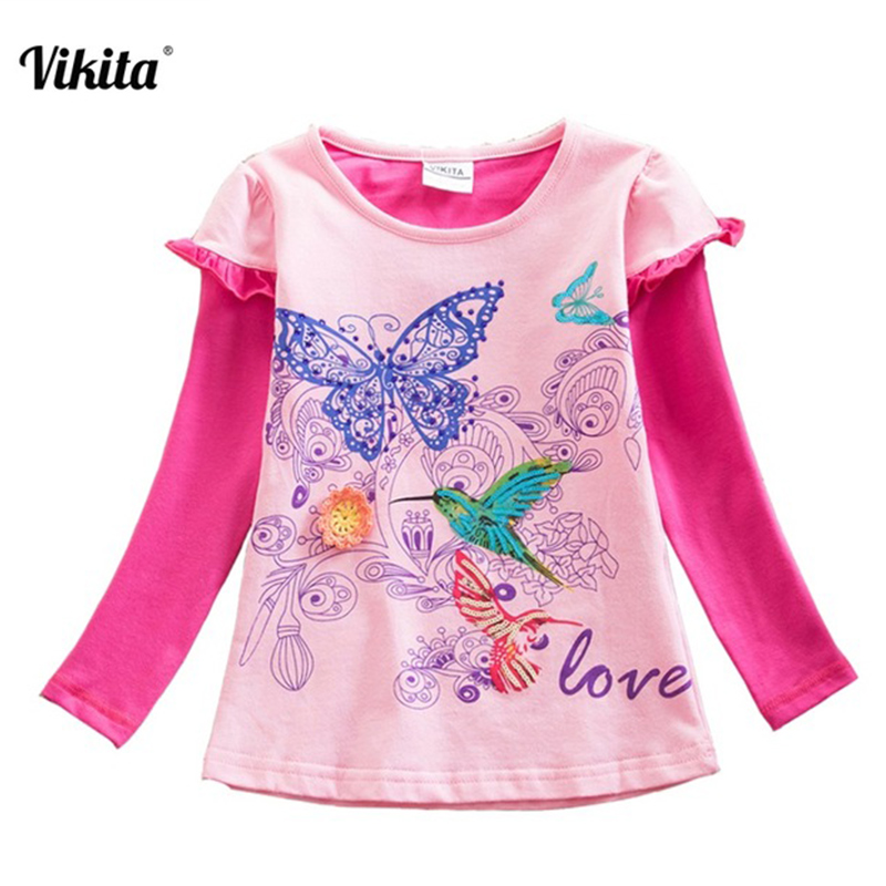VIKITA Brand Girl t shirt Flower Long Sleeve Kids t-shirts Animal Cartoon Shirts Kids Tops T-shirts for Children Clothing G622