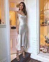 2018 летние платья пикантные открытые до неправильной волна Для женщин точка печати мягкие атласные спагетти с длинное платье