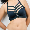 2014New Cage Bra fashionable sexy geometric black  spandex  harness attaching rivet  for lady