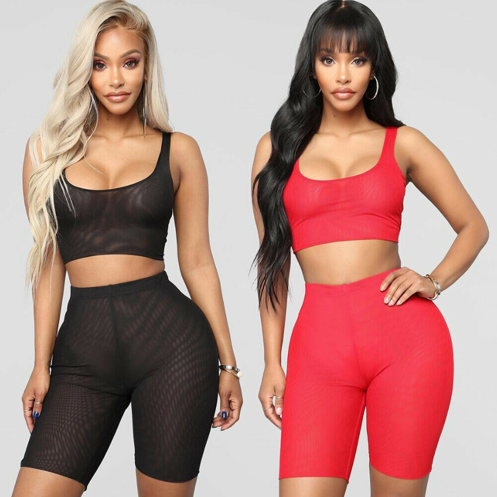 Sexy Women 2 Piece Underwear Set Solid Mesh Sleeveless Crop Top Tank And Slim High Wasit Shorts