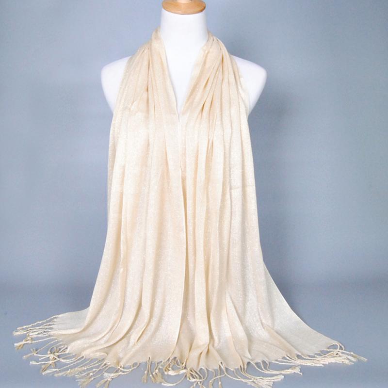 170*60cm Women Cotton   Scarf   Elegant Shawl Tassel Fringed Glitter Long   Wrap   Hijab Stole Solid Hijab   Scarves   for Ladies #913