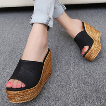 Wedges sandals knitted platform slippers open toe ultra high heels shoes women plus size