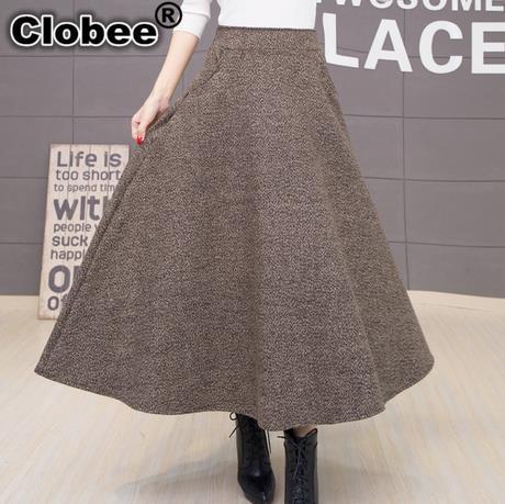 fa07539813e44c € 17.92 49% de réduction Jupe d'hiver faldas largas jupe longue taille  haute vestidos longues chaudes jupes grande taille noir dames kleding laine  ...