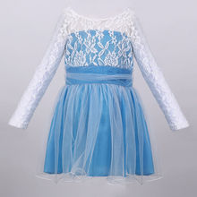 NEW Kids Girls long sleeve patchwork Princess Lace dress for age 2-11 Y