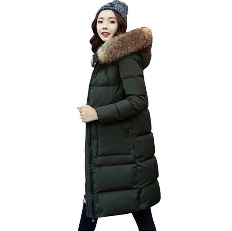 JQNZHNL2017 Winter New Women Medium Long Thickened Eiderdown Cotton Jacket Large Size Leisure Pure Color Hooded