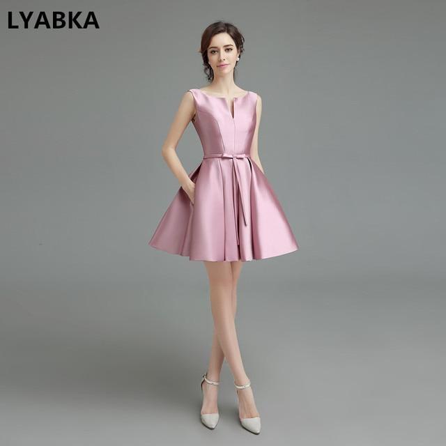 c5a370fcb2 Prom Dresses Vestidos De Gala Prom Dress New Style Scoop Neck Pink Satin  Prom Dress Vestidos De Coctel Short Prom Dresses 2019