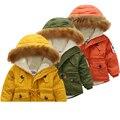 Jaqueta de inverno para o menino meninas parka casacos casacos 2016 outono inverno bandeira DOS EUA com capuz casaco grosso de algodão quente crianças casaco de inverno menino