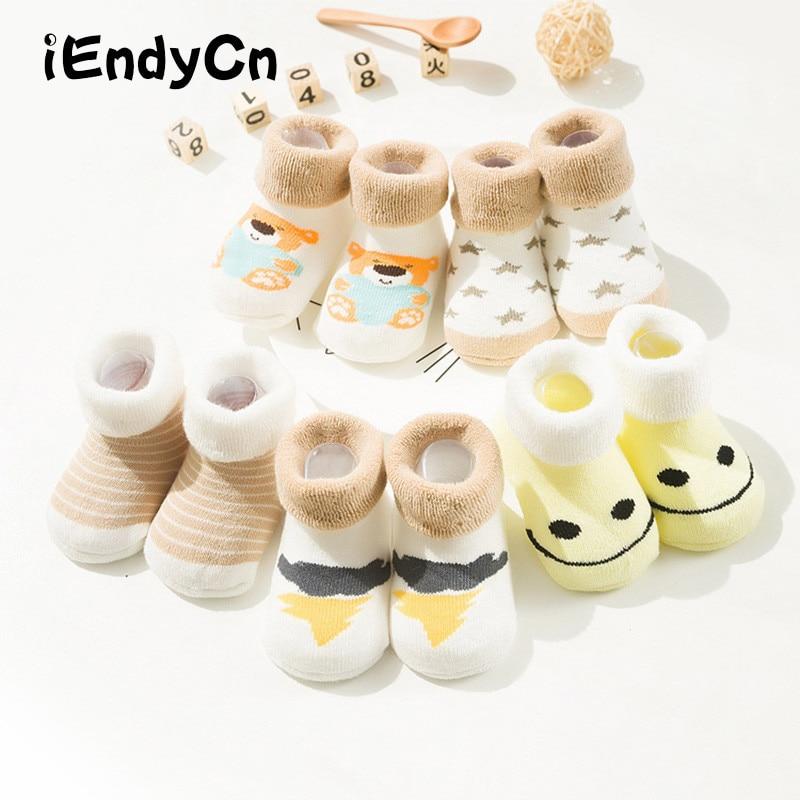 5 Pairs/Lot Toddler Socks For Newborns Anti Slip Warm Floor Children Socks Winter Kids Foot Warmer Boy Girl HJS7134