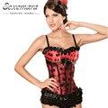 Rojo con cordones Corte Shaper Ramillete Mujeres Sexy Lencería Erótica Top Blusa Vestido Bustier Corsés Fajas Body Trainer de Residuos