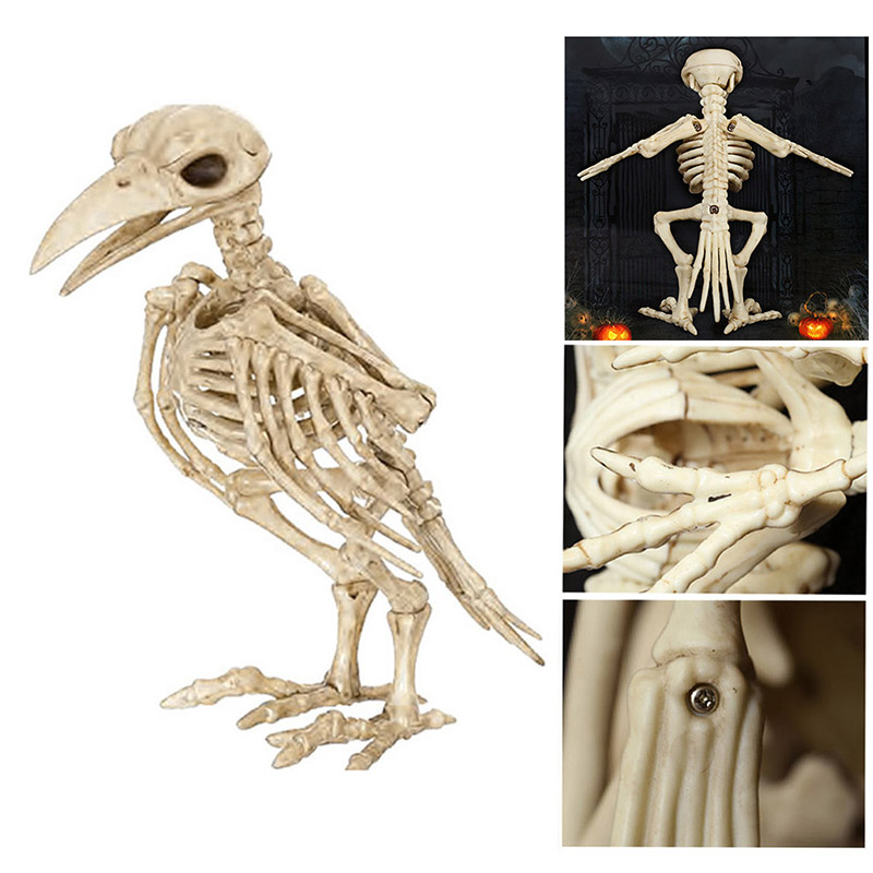 Halloween Decoration Bone Props Animals Skeleton Ornaments Bat Spider Dragon Bird Bones Hallowmas Horror House Party Decoration (100)