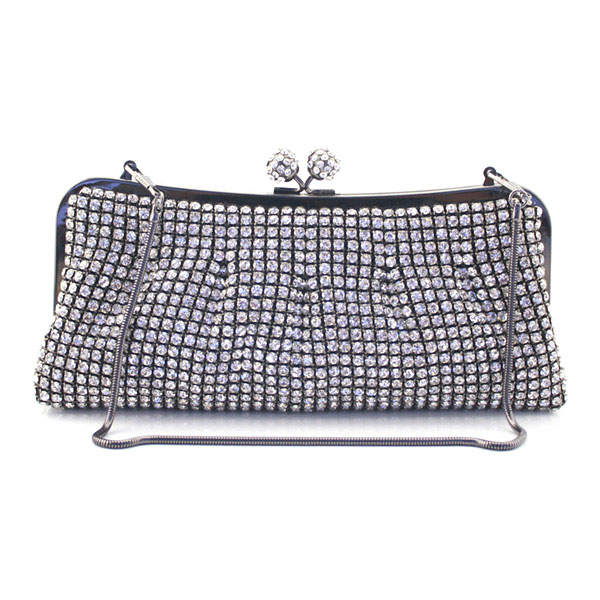 Ladies Appliques soft Crystal Evening Purse Bridal Party Clutch Bag Diamond Metal Clutches Bag Women Wedding Handbag(6076-BG)