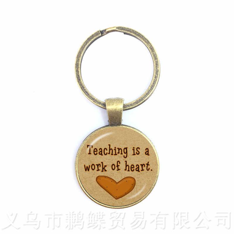 Классическое спасибо, учительские брелки, красное сердце шаблон, стеклянные брелки, металлические брелки для ключей, подарки для женщин и мужчин