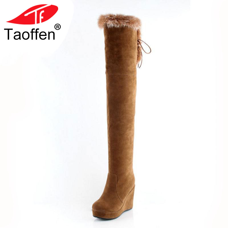 TAOFFEN Women Over Knee Boots High Wedges Boots Platform Zipper Boots In Winter Shoes Warm Long Botas Women Footwears Size 34-41 18cm super cute fluffy bunny bag pendant lovely play dead rabbit animal toy keychain car decor