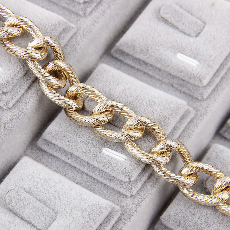 1.6x2.7x12x16mmMetal Rose Gold Textured Cable Necklace Twisted Curb Chains Bulk Fit Bracelets Open Link Chain DIY Jewelry Making
