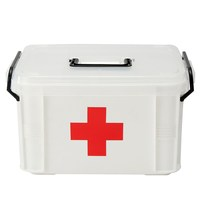Safurance Plastic 2 Layers Health Pill Medicine Drug Bottle First Aid Kit Case Storage Box Emergency