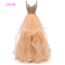 Tulle Crystal Beaded Prom Dresses Tiered Formal Evening Spaghetti Strap Ball Gown