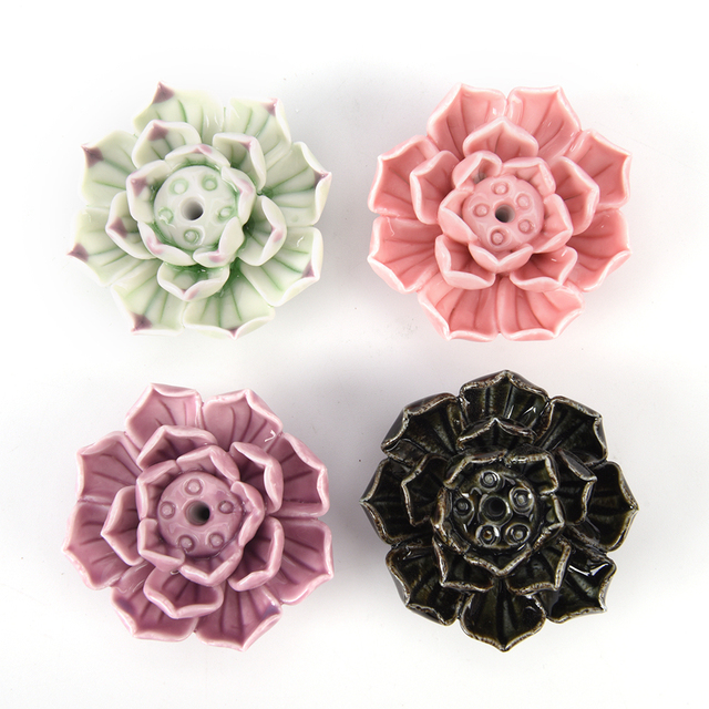 Lotus Flower Shape Adeeing Ceramic Incense Burner Stick Holder Lotus