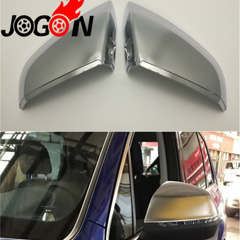 ABS Chrome Matte Silver Rear View Rearview Mirror With Lane Change Side Wing Cover Replacement Trim For Audi Q7 2016 2017 2018