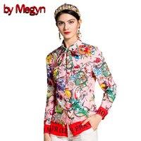 By Megyn 2018 Fashion Designer Runway Women Blouses Long Sleeve Shirt Snake And Letter Print Women