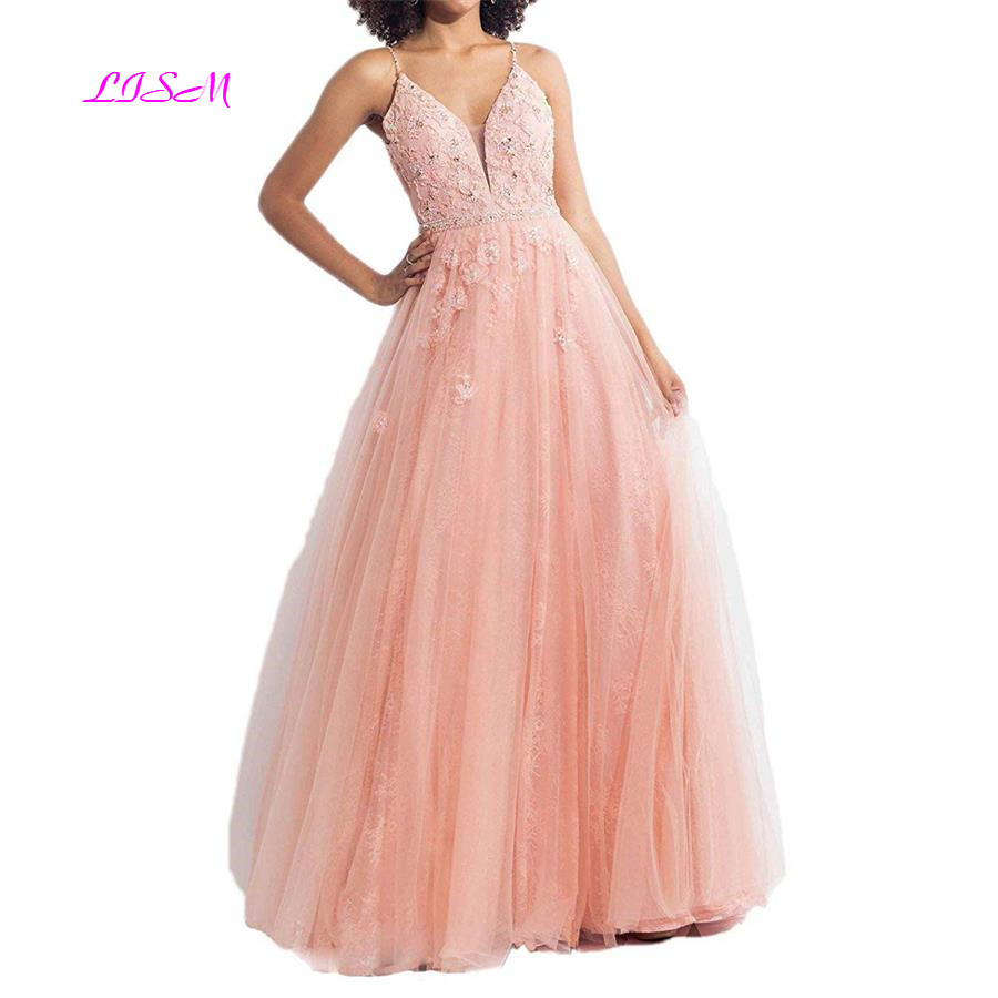 Spaghetti Straps V-Neck Tulle Long Prom Dresses 2019 Empire Waist Backless A-Line Lace Beadings Evening Gowns vestidos de gala