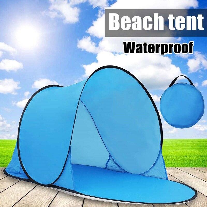 Al aire libre carpa portátil UV playa Camping tienda Pop-Up abierto en la playa Mat plegable automático para 1-2 personas