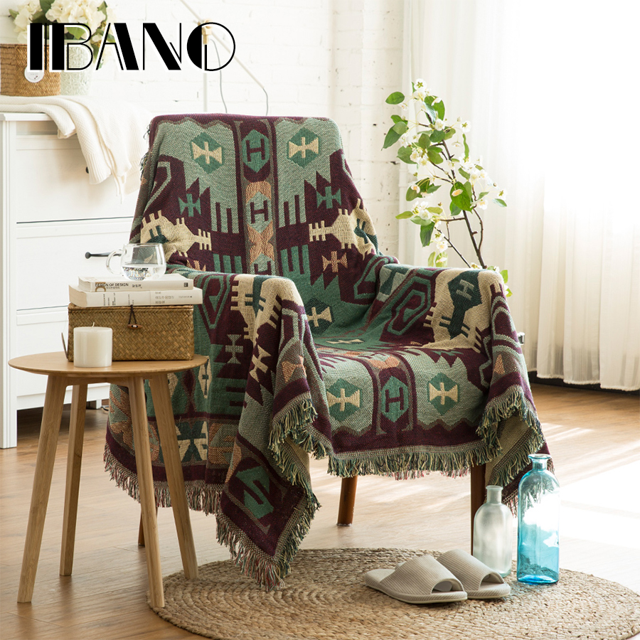 IBANO Cotton Throw Blanket Sofa Cover 130x180CM Thread Blanket Vintage Decorative Carpet Mat/Beach Towel/Tabelcloth/Beed Sheet