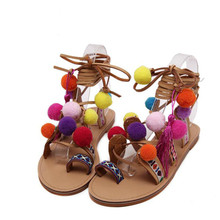 Bohemia Style Fringed Pompoms Lady Gladiator Fringed Sandals Shoes Cross Strap Tie Up Fashion Women Flats Sandals Size 35-40 стоимость