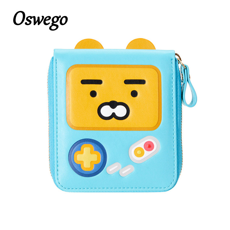 Oswego Game Boy Wallet PU Leather Zipper Cute Cartoon Women Short Wallet Portable Lady Girl Purse Change Coin Female Purse pixels pacman wallet 3d embossing short purse for student boy girls slim silicone wallet game cartoon designer wallet billeteras