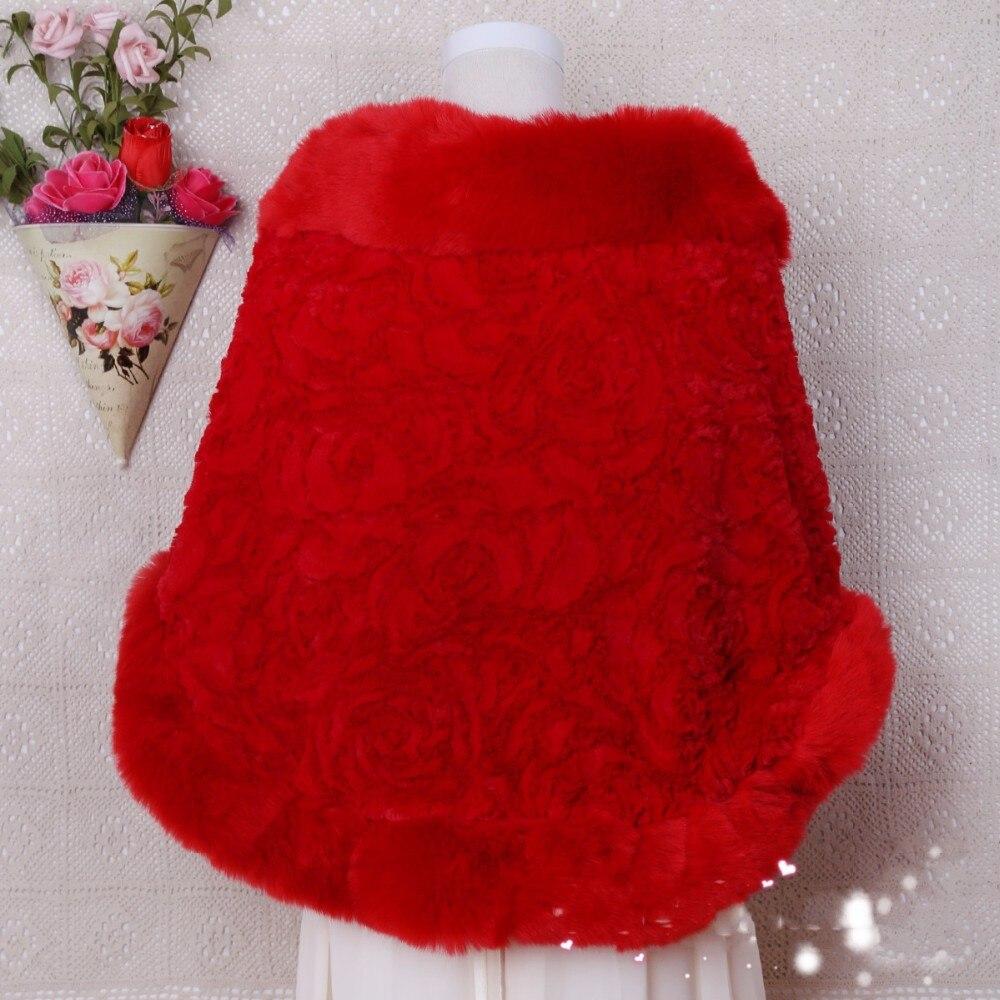 Bolero Rouge Mariage intérieur hiver faux manteau de fourrure blanc rouge de mariage bolero
