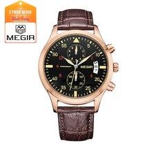 MEGIR новая мода кожа секундомер для человека 2016 повседневная кварцевые часы календарь мужчины наручные часы для мужчин 2021