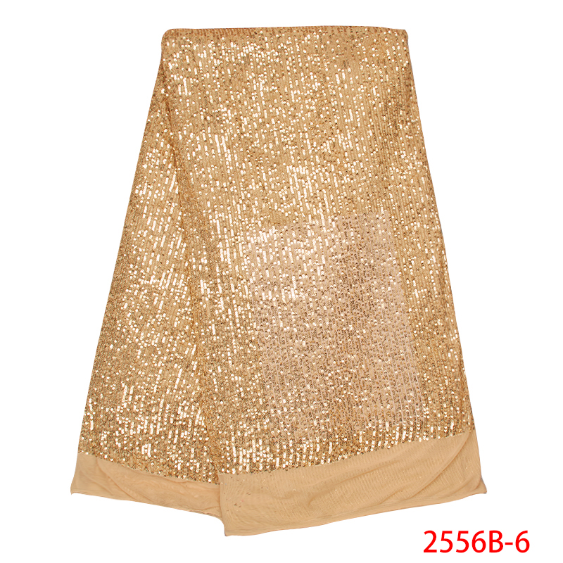 2019 French Net Lace Fabric Latest African Lace Fabric With Sequins High Quality Nigerian Tulle Mesh For Women KS2556B-6